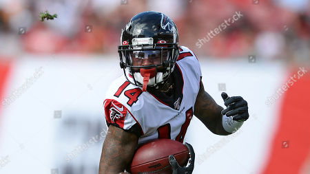 Stock Image of Atlanta Falcons wide receiver Justin Hardy (14) during the first half of an NFL football game against the Tampa Bay Buccaneers, in Tampa, Fla