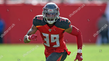 Tampa Bay Buccaneers strong safety Andrew Adams (39) during the first half of an NFL football game against the Atlanta Falcons, in Tampa, Fla