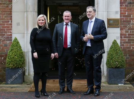 Sinn Féin's Northern leader Michelle O'Neill and party colleague Conor Murphy meet with Northern Ireland Secretary Julian Smith at Stormont House