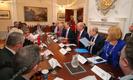 Northern Ireland Secretary Julian Smith MP and Tnaiste Simon Coveney meets with the Northern Ireland political party leaders including Arlene Foster, Michelle O'Neill, Colum Eastwood, Stephen Farry and Steve Aiken at Stormont House