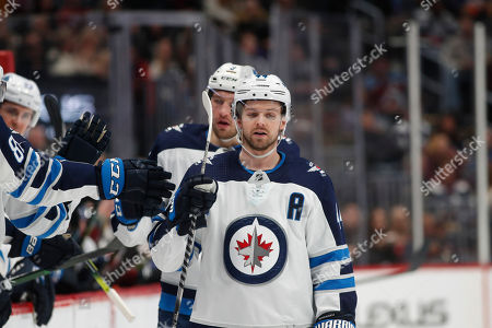 R m. Winnipeg Jets defenseman Josh Morrissey (44) in the first period of an NHL hockey game, in Denver