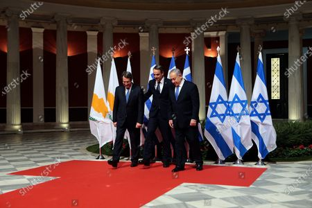 Editorial picture of EastMed natural gas pipeline agreement betwwen Greece, Cyprus and Israel, Athens - 02 Jan 2020