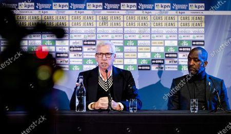 ADO Den Hague's new head coach Alan Pardew (L) and new assistant coach Chris Powell during their presentation at the Cars Jeans Stadium in The Hague, The Netherlands, 02 January 2020.