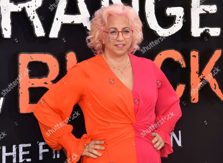 """Jenji Kohan at the final season premiere of Netflix's """"Orange Is the New Black"""" in New York. Police say the son of well-known television producer Jenji Kohan has died after a ski accident in Utah. Authorities said Thursday that 20-year-old Charlie Noxon was pronounced dead after the accident on an intermediate trail at Park City Mountain resort on New Year's Eve"""