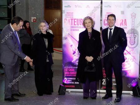 Spain's emeritus Queen Sofia (2-R) and his sister Princess Irene of Greece and Denmark (2-L) attend a concert performed recycled-instrument orchestra Cateura at Teatro Real royal opera house in Madrid, Spain, 02 January 2020.