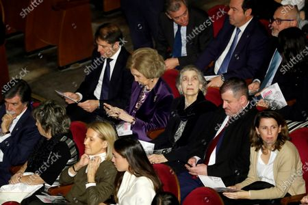 Spain's emeritus Queen Sofia (2-l) and his sister Princess Irene of Greece and Denmark (3-R) attend a concert performed recycled-instrument orchestra Cateura at Teatro Real royal opera house in Madrid, Spain, 02 January 2020.