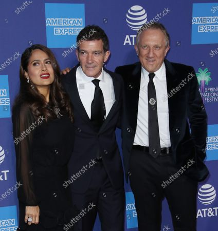 Stock Photo of Salma Hayek, Antonio Banderas and Francois-Henri Pinault