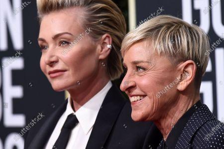 Stock Image of Portia de Rossi and Ellen DeGeneres