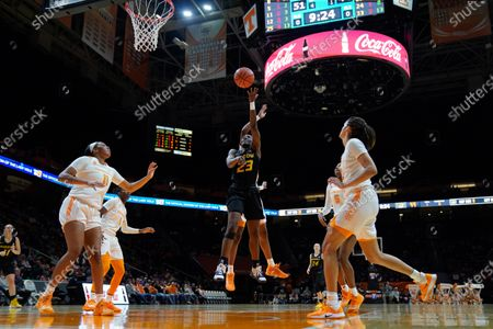 Stock Image of Amber Smith #23 of the Missouri Tigers shoots the ball during the NCAA basketball game between the University of Tennessee Lady Volunteers and University of Missouri Tigers at Thompson Boling Arena in Knoxville TN Tim Gangloff/CSM