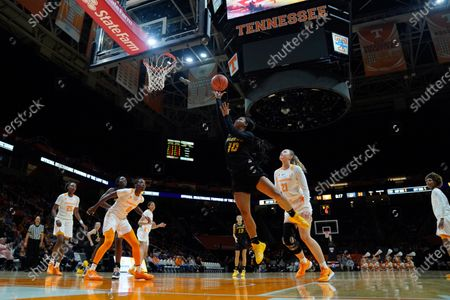 Nadia Green #10 of the Missouri Tigers drives to the basket and shoots the ball during the NCAA basketball game between the University of Tennessee Lady Volunteers and University of Missouri Tigers at Thompson Boling Arena in Knoxville TN Tim Gangloff/CSM