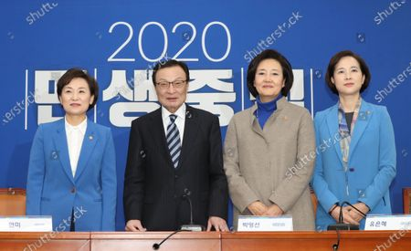 South Korea's Land, Infrastructure and Transport Minister Kim Hyun-mi (L), Minister of SMEs and Startups Park Young-sun (2-R) and Education Minister Yoo Eun-hae (R) pose with Lee Hae-chan (2-L), leader of South Korea's ruling Democratic Party, at the National Assembly in Seoul, South Korea, 03 January 2020. The ministers announced their decision not to run in the general elections scheduled for 15 April 2020.