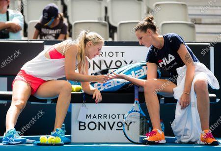 Karolina Pliskova of the Czech Republic with coach Olga Savchuk
