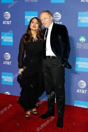 Salma Hayek (L) and French businessman Francois-Henri Pinault (R) arrive at the 31st Palm Springs International Film Festival in Palm Springs, California, USA, 02 January 2020. The Palm Springs International Film Festival awards actors in eleven categories.