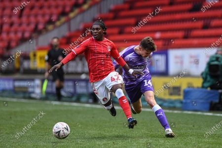 Stock Image of 5th January 2020, The Valley, London, England; Emirates FA Cup, Charlton Athletic v West Bromwich Albion :Abraham Odoh (42) of Charlton Athletic makes a run with the ball Credit: Phil Westlake/News Images