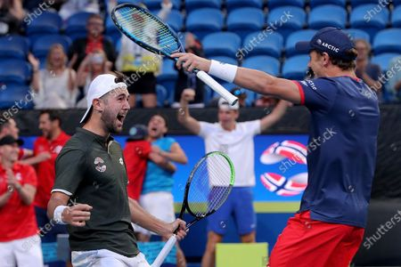 Casper Ruud (right) and Viktor Durasovic of Norway celebrate after winning their doubles match against Austin Krajicek and Rajeev Ram of the USA during day 1 of the ATP Cup tennis tournament at RAC Arena in Perth,Australia, 03 January 2020.