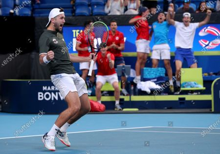 Viktor Durasovic of Norway celebrates after winning with Casper Ruud their doubles match against Austin Krajicek and Rajeev Ram of the USA during day 1 of the ATP Cup tennis tournament at RAC Arena in Perth, Australia, 03 January 2020.