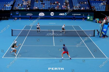 Austin Krajicek and Rajeev Ram of the USA in action during their doubles match against Casper Ruud and Viktor Durasovic of Norway during day 1 of the ATP Cup tennis tournament at RAC Arena in Perth, Australia, 03 January 2020.