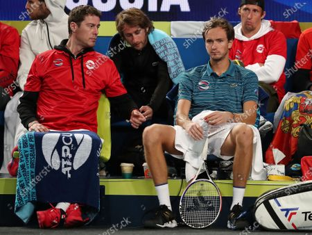 Marat Safin (L), team captain of Russia talks to Daniil Medvedev of Russia during day 1 of the ATP Cup tennis tournament at RAC Arena in Perth, Australia, 03 January 2020.