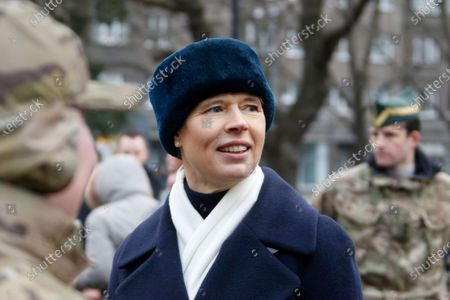 Estonian President Kersti Kaljulaid attends a commemoration ceremony for the 100th anniversary of the ceasefire of the War of Independence, near the Narva border checkpoint with Russia, Estonia, 03 January 2020. As a result of the War of Independence, the Red Army was suppressed in Estonia and the Tartu Peace Treaty on 02 February 1920 recognized Estonia's national independence.