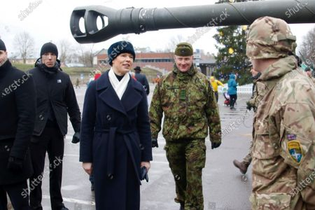 Estonian President Kersti Kaljulaid (C-L) and commander of the 1st Infantry Brigade Colonel Vahur Karus (C-R) attend a commemoration ceremony for the 100th anniversary of the ceasefire of the War of Independence, near the Narva border checkpoint with Russia, Estonia, 03 January 2020. As a result of the War of Independence, the Red Army was suppressed in Estonia and the Tartu Peace Treaty on 02 February 1920 recognized Estonia's national independence.