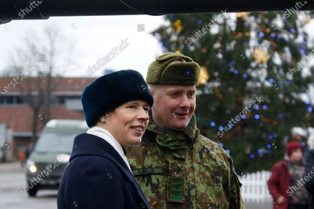 Estonian President Kersti Kaljulaid (L) and commander of the 1st Infantry Brigade Colonel Vahur Karus attend a commemoration ceremony for the 100th anniversary of the ceasefire of the War of Independence, near the Narva border checkpoint with Russia, Estonia, 03 January 2020. As a result of the War of Independence, the Red Army was suppressed in Estonia and the Tartu Peace Treaty on 02 February 1920 recognized Estonia's national independence.