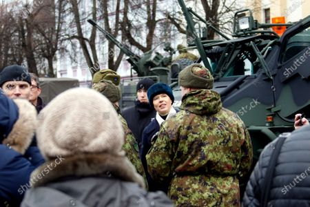 Estonian President Kersti Kaljulaid (C) attends a commemoration ceremony for the 100th anniversary of the ceasefire of the War of Independence, near the Narva border checkpoint with Russia, Estonia, 03 January 2020. As a result of the War of Independence, the Red Army was suppressed in Estonia and the Tartu Peace Treaty on 02 February 1920 recognized Estonia's national independence.
