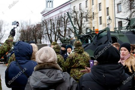 Estonian President Kersti Kaljulaid (C, rear) attends a commemoration ceremony for the 100th anniversary of the ceasefire of the War of Independence, near the Narva border checkpoint with Russia, Estonia, 03 January 2020. As a result of the War of Independence, the Red Army was suppressed in Estonia and the Tartu Peace Treaty on 02 February 1920 recognized Estonia's national independence.