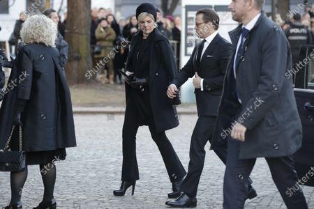 Princess Laurentien of the Netherlands (C-L) and Prince Daniel of Sweden (C-R) arrive for the funeral of Ari Behn, the ex-husband of Norway's Princess Martha Louise, at the Oslo Cathedral, in Oslo, Norway, 03 January 2019. The Norwegian author, playwright, and visual artist Behn died at the age 47 on 25 December 2019.