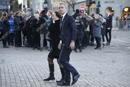 Stock Image of NATO Secretary General Jens Stoltenberg and his wife Ingrid Schulerud arrive for the funeral of Ari Behn, the ex-husband of Norway's Princess Martha Louise, at the Oslo Cathedral, in Oslo, Norway, 03 January 2019. The Norwegian author, playwright, and visual artist Behn died at the age 47 on 25 December 2019.