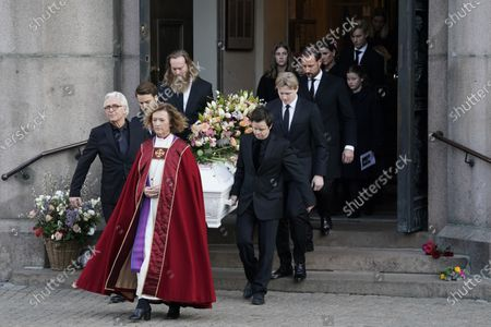 Stock Picture of Ari Behn's casket is carried out of Oslo Cathedral by members of his family, led by bishop Kari Veiteberg, after the funeral service in Oslo, Norway, 03 January 2020. The Norwegian author, playwright, and visual artist Behn, the ex-husband of Norway's Princess Martha Louise, died at the age 47 on 25 December 2019.