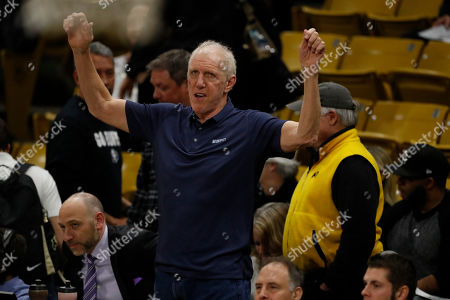 R m. Television analyst Bill Walton in the first half of an NCAA college basketball game, in Boulder, Colo