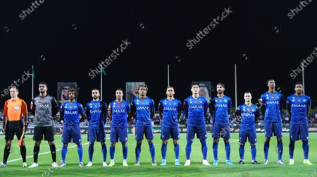 Players of Al-Hilal line up before the Saudi King's Cup Round of 16 match between Al-Hilal and Al-Faisaly at King Salman Sport City Stadium, Majmaah, Saudi Arabia, 03 January 2020.