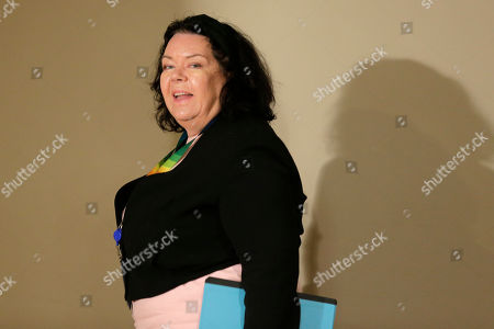 The British ambassador to the United Nations Karen Pierce leaves a Security Council meeting at U.N. headquarters