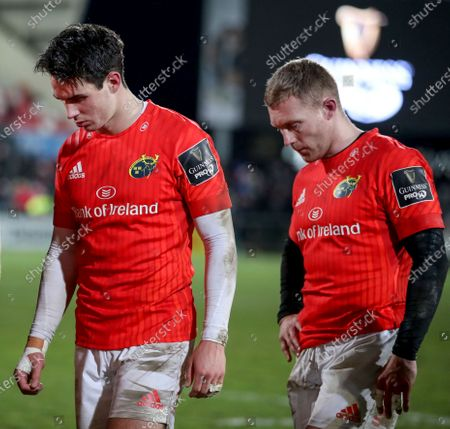 Ulster vs Munster. Munster's Joey Carbery and Keith Earls dejected after the game