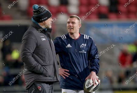 Ulster vs Munster. Ulster Head coach Dan McFarland with Munster's Keith Earls