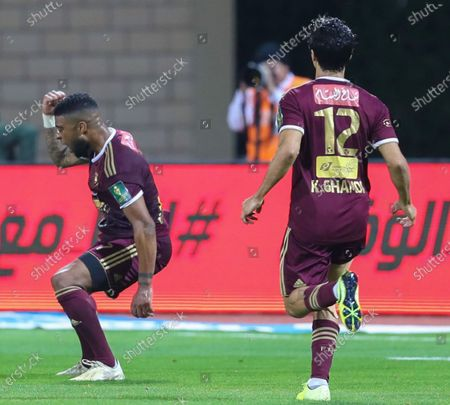 Al-Faisaly players celebrate after scoring a goal during the Saudi King's Cup Round of 16 match between Al-Hilal and Al-Faisaly at King Salman Sport City Stadium, Majmaah, Saudi Arabia, 03 January 2020.