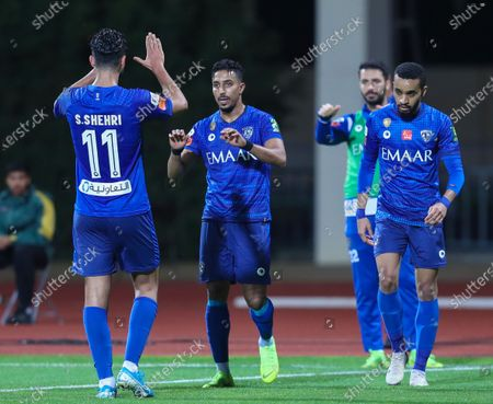 Al-Hilal Players celebrate after scoring a goal during the Saudi King's Cup Round of 16 match between Al-Hilal and Al-Faisaly at King Salman Sport City Stadium, Majmaah, Saudi Arabia, 03 January 2020.