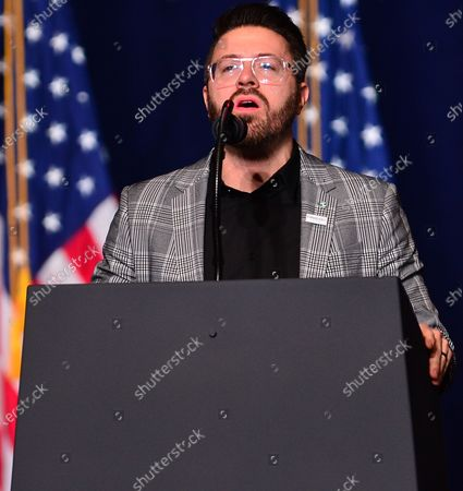 Stock Photo of Danny Gokey reciting the United States national anthem during the 'Evangelicals for Trump' Coalition Launch at the King Jesus International Ministry
