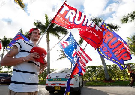 Nick Hill, Andrew Gillum. Vendor Nick Hill sells Trump merchandise outside the King Jesus International Ministry, as attendees passed by for a rally with President Donald Trump, in Miami