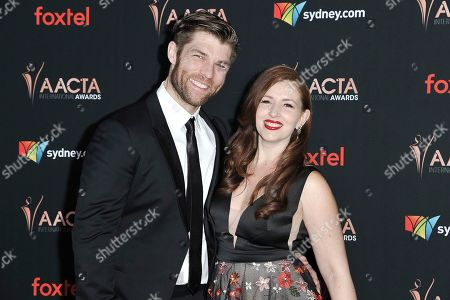Liam McIntyre, Erin Hasan. Liam McIntyre, left, and Erin Hasan attend the 9th Annual AACTA International Awards at Mondrian Los Angeles, in West Hollywood, Calif