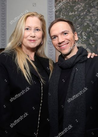 Stock Picture of Laura Bickford, Jan Komasa. Laura Bickford and Director Jan Komasa seen at the Toast the Polish Film Industry at Spago on in Beverly Hills