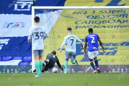 Goal Keeper Lee Camp of Birmingham City clears the ball from going into his own net.