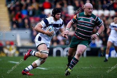 Stock Image of Ed Holmes of Bristol Bears takes on Dan Cole of Leicester Tigers