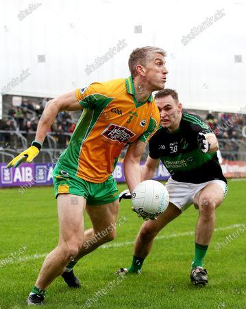 Stock Photo of Corofin (Galway) vs Nemo Rangers (Cork). Corofin's Kieran Fitzgerald and Kieran Histon of Nemo Rangers