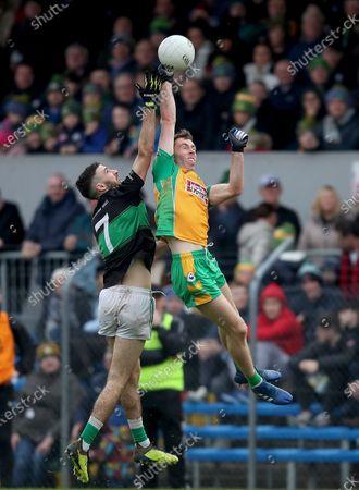 Stock Picture of Corofin (Galway) vs Nemo Rangers (Cork). Nemo Rangers Jack Horgan and Jason Leonard of Corofin