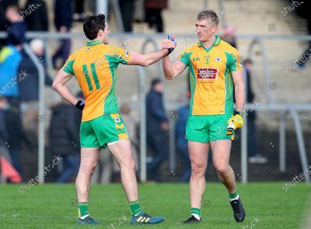 Corofin (Galway) vs Nemo Rangers (Cork). Corofin's Michael Farragher and Kieran Fitzgerald celebrate after the game