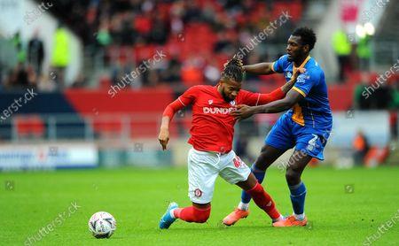 Kasey Palmer of Bristol City is fouled by Aaron Pierre of Shrewsbury Town- Mandatory by-line: Nizaam Jones/JMP