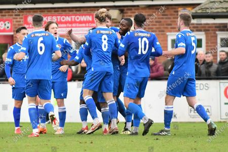 Rob Morgan of Stamford celebrates with team during the Northerm Premier League match between Ilkeston Town and Stamford at New Manor Ground, Ilkeston