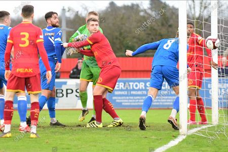 Rob Morgan of Stamford scores their second goal during the Northerm Premier League match between Ilkeston Town and Stamford at New Manor Ground, Ilkeston