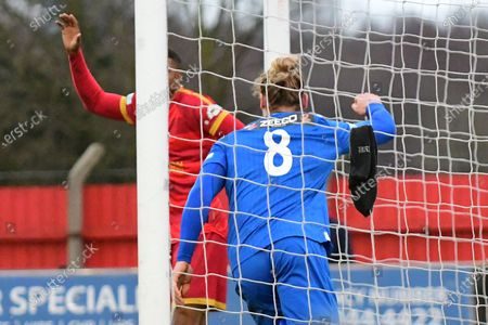 Rob Morgan of Stamford celebrates his goal during the Northerm Premier League match between Ilkeston Town and Stamford at New Manor Ground, Ilkeston